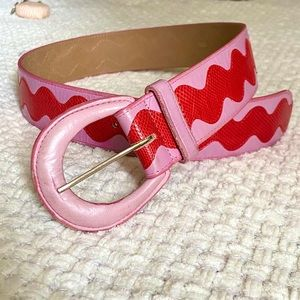 Vintage Pink and Red Leather Belt